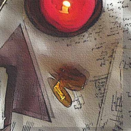 Candles, triangles and amber stones