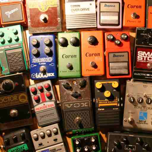 Phasers, distortion pedals, fuzzes, flangers, echo chambers (small), strange sounds from little boxes...